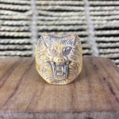 Antique Chinese Handwork old B0ne Wolf king Collectible No.7.5 Rare male Ring