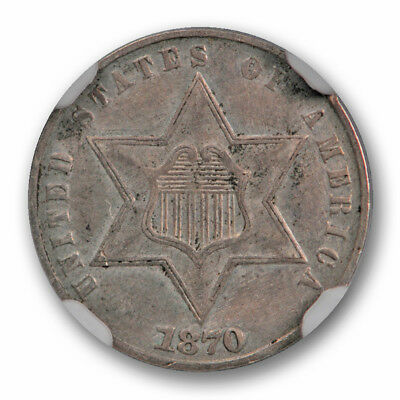 1870 Three Cent Silver Piece NGC About Uncirculated AU Details Low Mintage