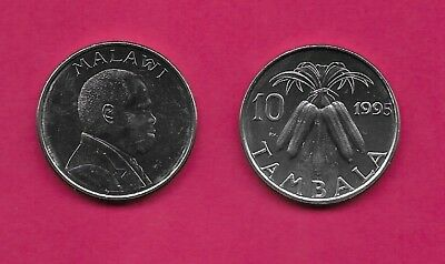 Malawi Rep 10 Tambala 1995 Unc Bundled Corn Cobs Divide Date And Value,bust Righ