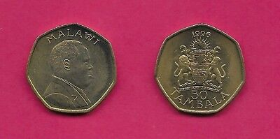 Malawi Rep 50 Tambala 1996 Unc Arms With Supporters,bust Right