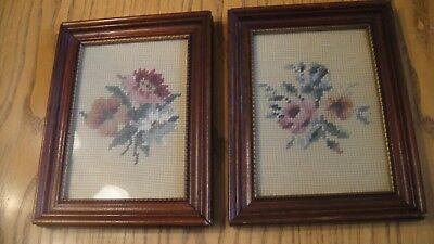 Pair of Vintage/Antique Floral Needlepoint Wooden Picture Frame  - FLOWERS