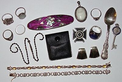 LOT of ASSORTED Antique/Vintage STERLING JEWELRY PIECES & MORE~NOT SCRAP~104G TW