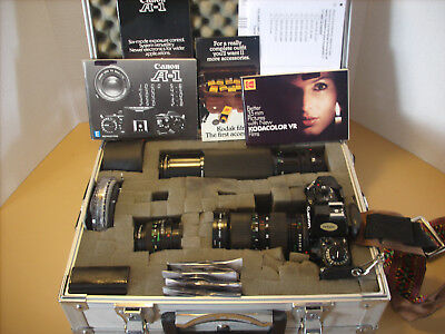 Canon A-1 SLR 35mm Film Camera with EXTRAS nice