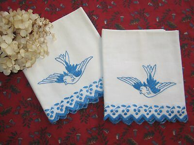 Pair of  Antique Pillowcases-Hand Embroidered Blue Birds Vintage Pillowcases