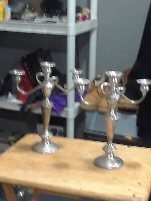 Pair Of Weighted 3 Light Candelabra (Sterling Hollowware By Crown Silver Co.