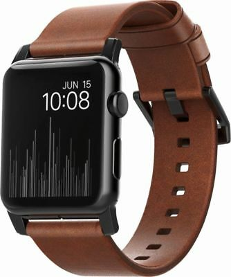 Nomad Leather Watch Strap for Apple Watch 38mm - Brown with Black Lugs