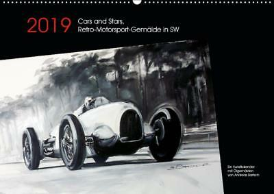 Wandkalender 2019 DIN A2 Cars and Stars, Retro-Motorsport-Gemälde in SW