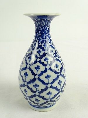 Antique 19thC Chinese Blue & White Hand painted Baluster Stem Vase China Qing
