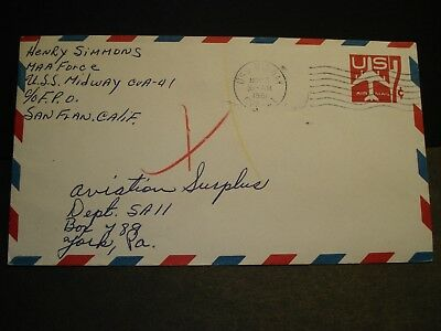 USS MIDWAY CVA-41 Naval Cover 1961 Aircraft Carrier Sailor's Mail MAA