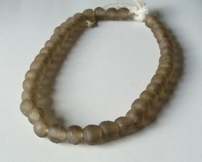 1 Strang recycled Glasperlen 14 mm Ghana Krobo Trade Beads Afrika Ghana braun