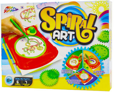 Spiral Art Maker with Puzzle Stencil Cords / Picture Maker / Paper / Markers UK