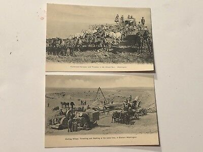 2-Harvester Thresher Machines Farmers-Workers  Washington State Postcards 1900's