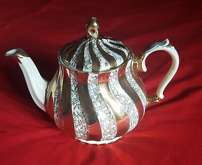 Vintage sadler large teapot ribbed swirl effect repaired handle ceramic pottery
