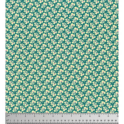 MASSIVE REMNANT Freespirit PANSIES Green/Ivory Cotton Fabric-Approx 114cm x 1.4M