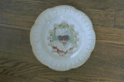 1910 Antique Calendar Plate Gibson Girl with Ermine Hat w/ animal head on hat
