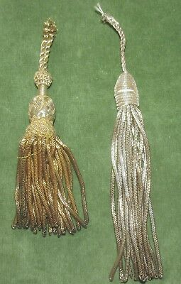 Two Antique French Metal Bullion Tassels