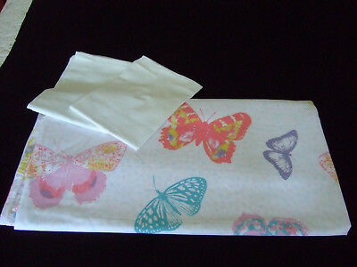 King Size 100% Cotton Duvet Cover & Two P'cases.Butterfly Design.Superb Cond.