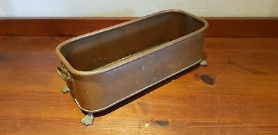 Antique Vintage Copper & Brass Planter With Lion Head Handles and feet