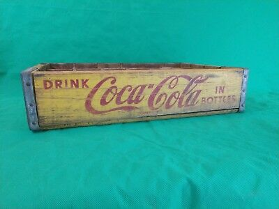 VINTAGE 60s YELLOW & RED COCA COLA WOOD CRATE 24 SLOT WOODEN LEBANON MO ANTIQUE