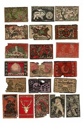 20 Old Japan c.1900s all damaged matchbox labels monkeys & various themes.