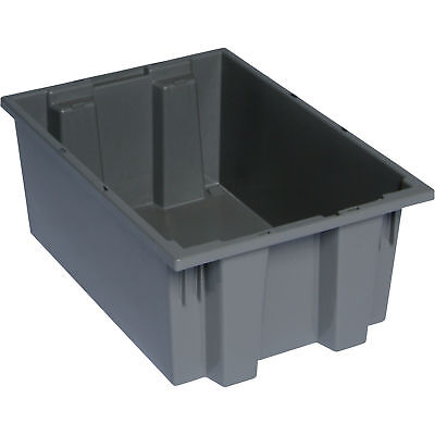 Quantum Stack and Nest Tote Bin-19 1/2in x 13 1/2in x 8in Size Gray #SNT 200 G