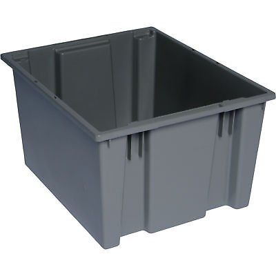 Quantum Stack and Nest Tote Bin-19 1/2in x 15 1/2in x 13in Size Gray #SNT 195 G
