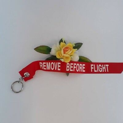 "KEYCHAIN REMOVE BEFORE FLIGHT FABRIC TAG KEYRING SIZE 12"" Red Color"