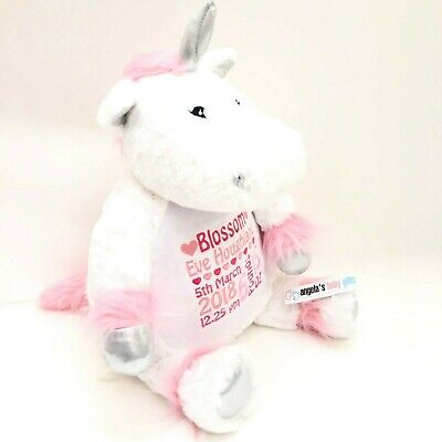 Unicorn Personalised Embroidered Mumbles Teddy Bear Soft Toy Birth Christening