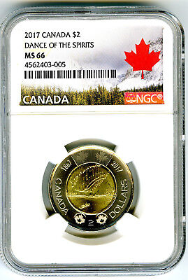 2017 Canada $2 Toonie Ngc Ms66 Dance Of Spirits 150Th Anniv Two Dollar Coin