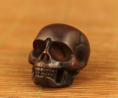 Asian tibetan yak horn Old handmade skull statue figure Bead decoration netsuke