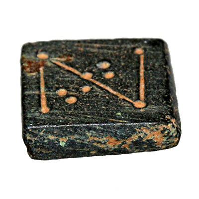 Intact Byzantine Decorated Bronze Square Weight Circa 700 Ad