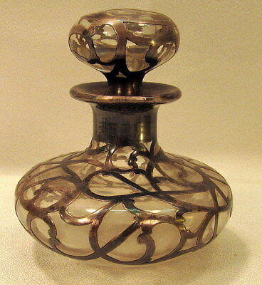 """ART NOUVEAU STERLING SILVER OVERLAY GLASS PERFUME BOTTLE 4"""" tall"""