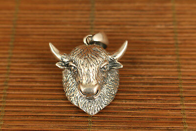 100%  925 Silver Old Hand Carved ox cow Head Statue Chinese Pendant netsuke
