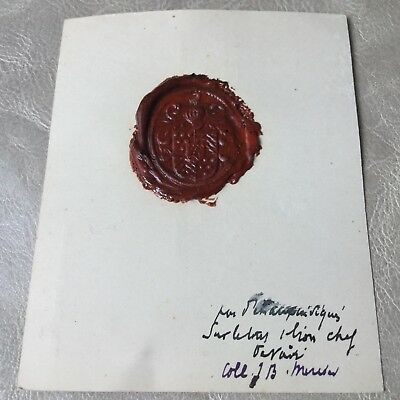 Cachet Ancien Cire Sceau Chevalier Heaume Sigillographie French Antique Wax Seal