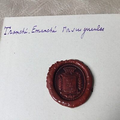 Cachet Ancien Cire Sceau Armoiries Comtales Antique French Wax Seal