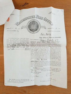 1894 Westminster Fire Office insurance policy document (Ryde, Isle of Wight)