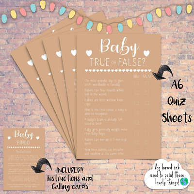 Baby Shower True Or False Trivia Quiz Game Kraft Style Boy Girl