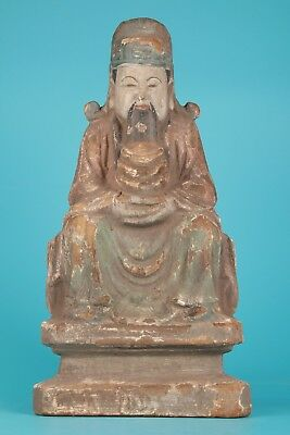 Asian Dedicated Antique Collection Wood Hand-Carved Large Wealth Statue