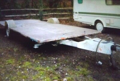 Large Flatbed Trailer, 16ft by 7ft, Alloy chassis, over run brakes. ex-caravan.