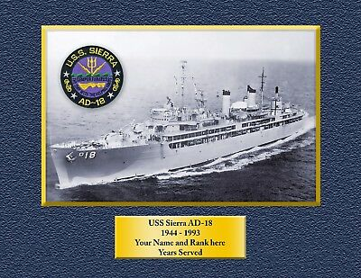 USS SIERRA. AD-18 Custom Personalized Print of US Navy Gift Idea