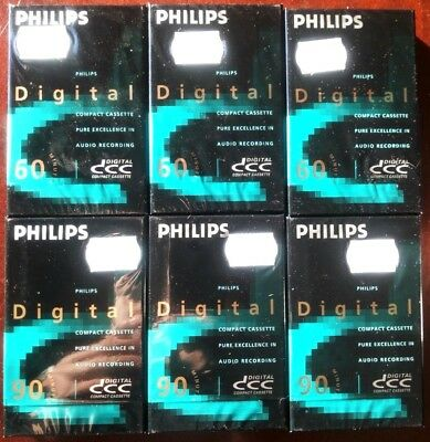 6 x PHILIPS DCC 60 + 90 DIGITAL CASSETTE TAPES BLANK SEALED