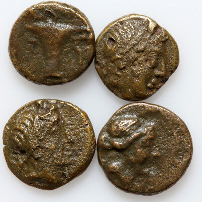 Nice Lot Of 4 Ancient Greek Bronze Coins Circa 200-100 Bc