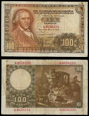AI.056) SPAIN 100 pesetas 1948 VF-