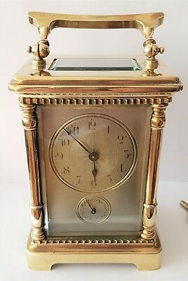 Carriage Clock Alarm Clock Antique Silvered Dial 8 Day Working Spares Repairs