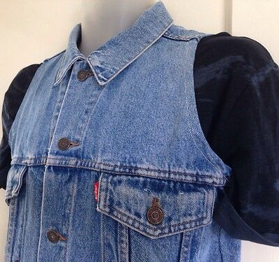 Levi's blue vintage-wash reworked denim gilet sleeveless jacket waistcoat