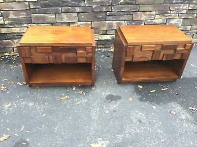 Pair of Mid Century Modern Brutalist Nightstands / End Tables (Bedroom set avail
