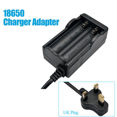 UK Plug Rechargeable 18650 Smart 2-slots Li-ion Battery USB Charger Adapter New
