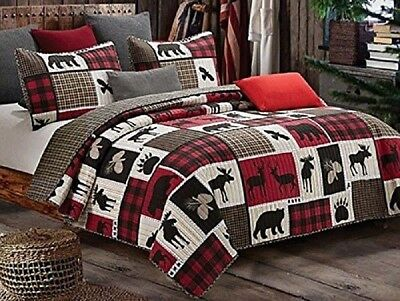2pc CANYON CREEK Twin Quilt Set Lodge Log Cabin Bear Rustic Plaid Forest Woods