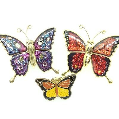 Lot of 3 Vintage BUTTERFLY BROOCH PINS Enamel Wings Insect Costume Jewelry Bugs