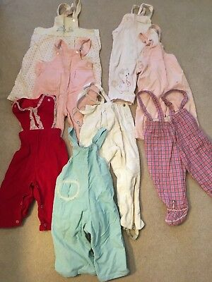 Lot of 8 Vintage Baby Toddler  Overalls Jumpers 1950's